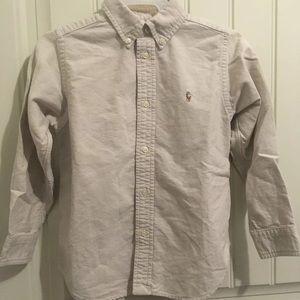 RARE Ralph Lauren Polo TAN Oxford Shirt Boys sz 6